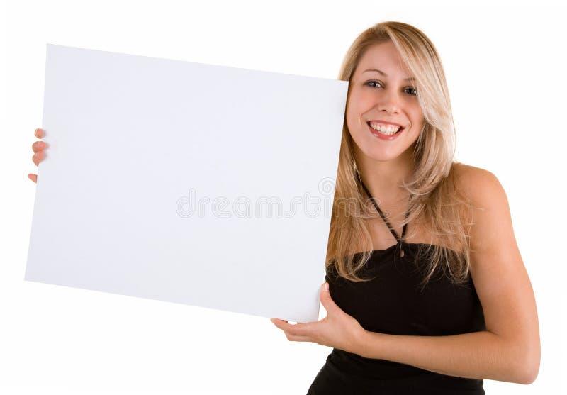 пустые детеныши белой женщины знака удерживания стоковое изображение