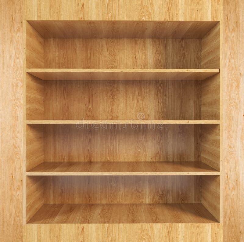 Пустые деревянные книжные полки иллюстрация вектора