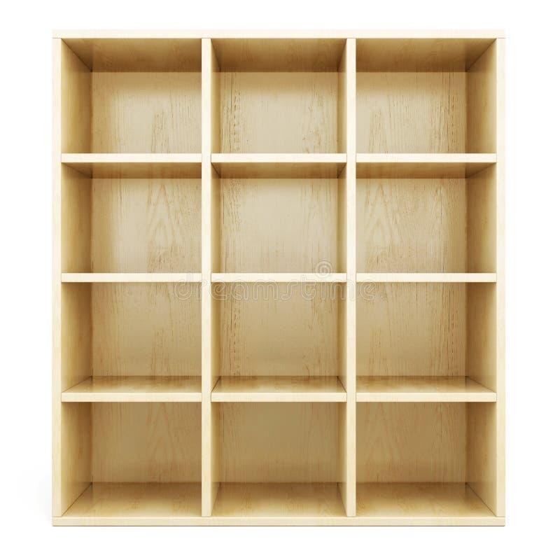 Пустые деревянные полки на белой предпосылке иллюстрация штока
