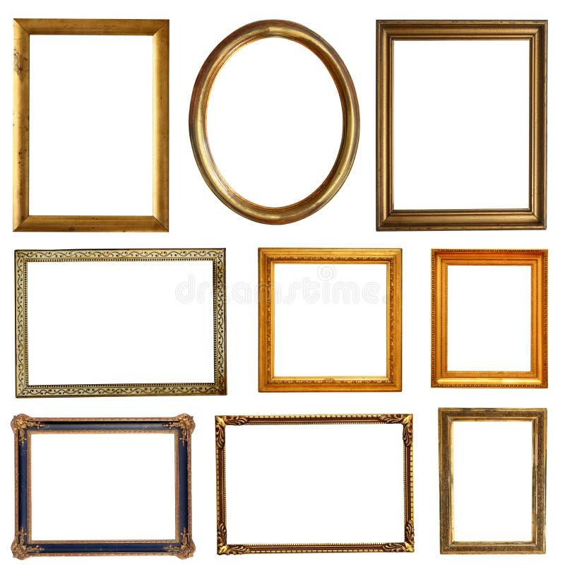 Пустые золотые рамки стоковая фотография rf