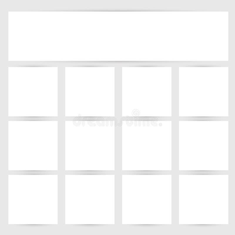 Пустые листы знамени белой бумаги с влияниями тени Vector шаблоны для представления, дизайна дела и розницы иллюстрация вектора