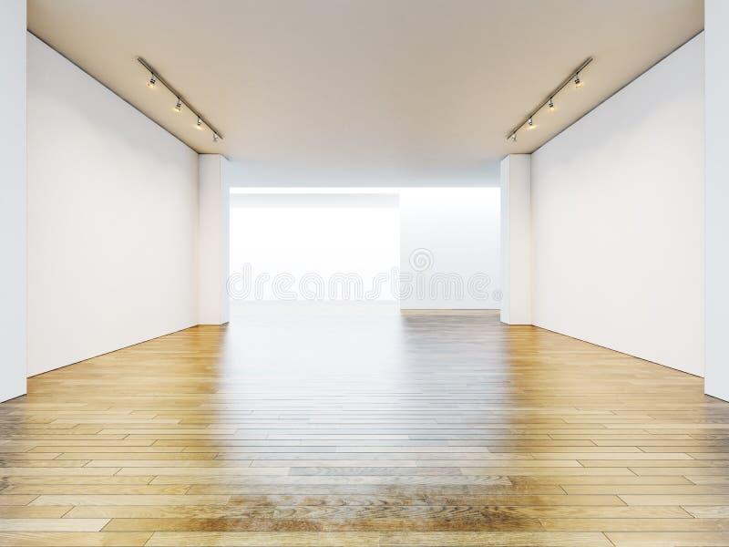 Пустые комната галереи с пустыми стенами и деревянный стоковое фото