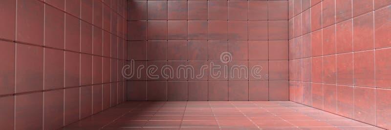 Пустые комната, пол и стены крыли картину черепицей, текстуру предпосылки красного цвета металла : иллюстрация вектора