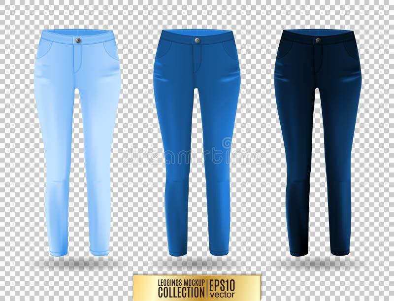 Пустые комплект, синь и джинсовая ткань модель-макета гетры на прозрачной предпосылке бесплатная иллюстрация