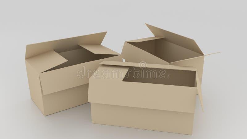 Пустые коричневые картонные коробки раскрыли, подготавливают для того чтобы обернуть вещи в ем o иллюстрация вектора