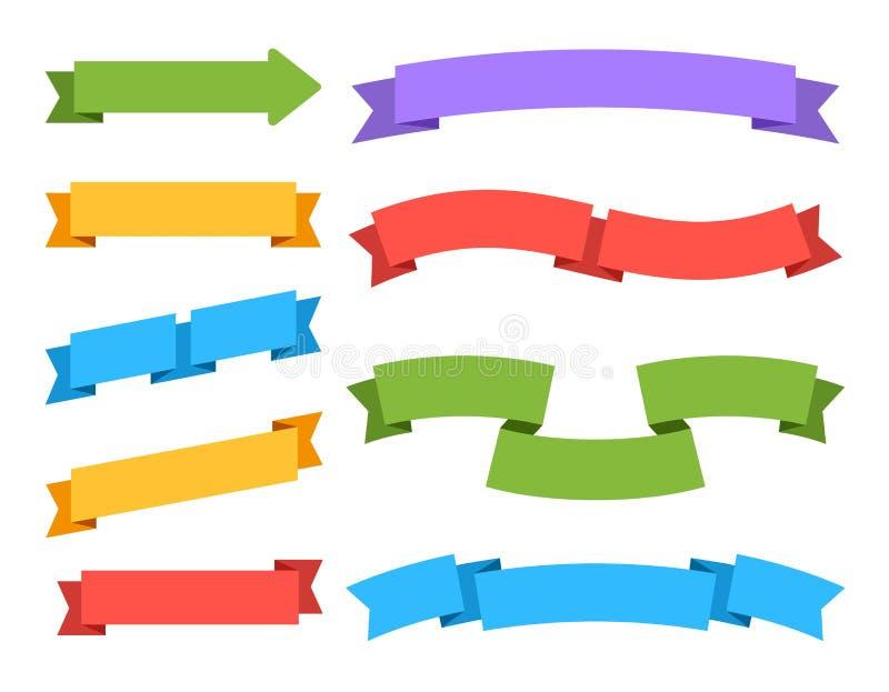 Пустые ленты Красочные знамена цены ярлыка и набор вектора закладки винтажными изолированный бирками иллюстрация вектора