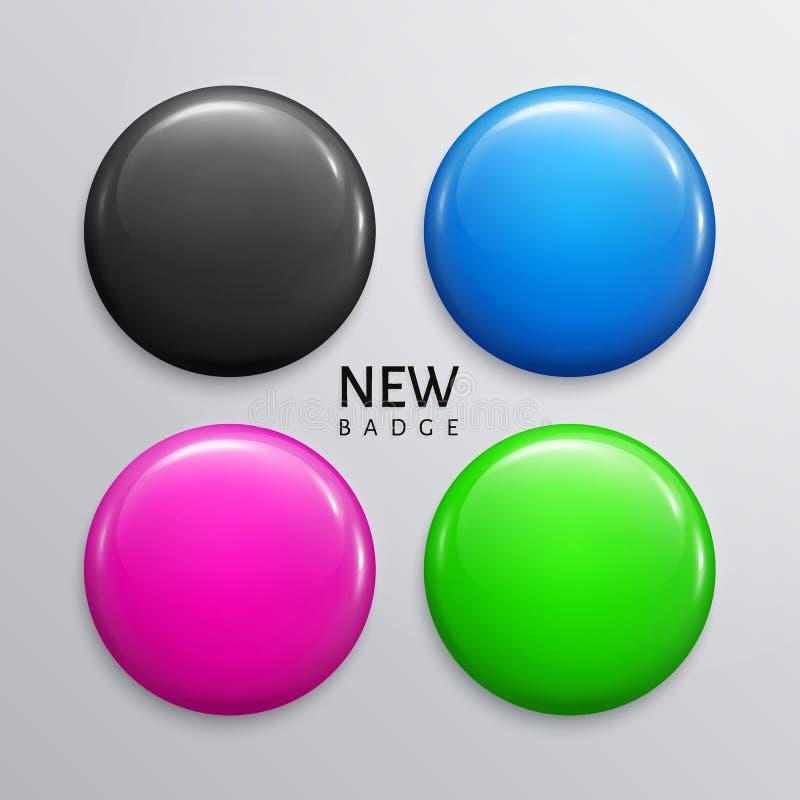Пустые лоснистые значки, штыри или сеть застегивают в 4 цветах, черноте, сини, мадженте и зеленых цветах вектор иллюстрация вектора