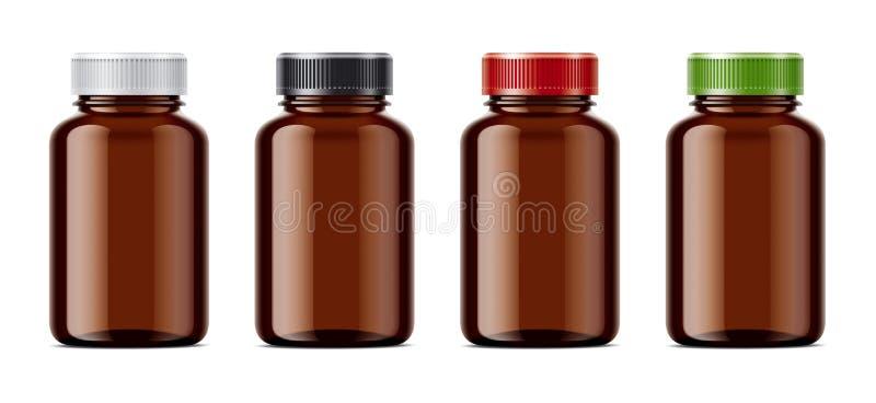 Пустые пустые модель-макеты бутылок для пилюлек или других фармацевтических подготовок иллюстрация штока
