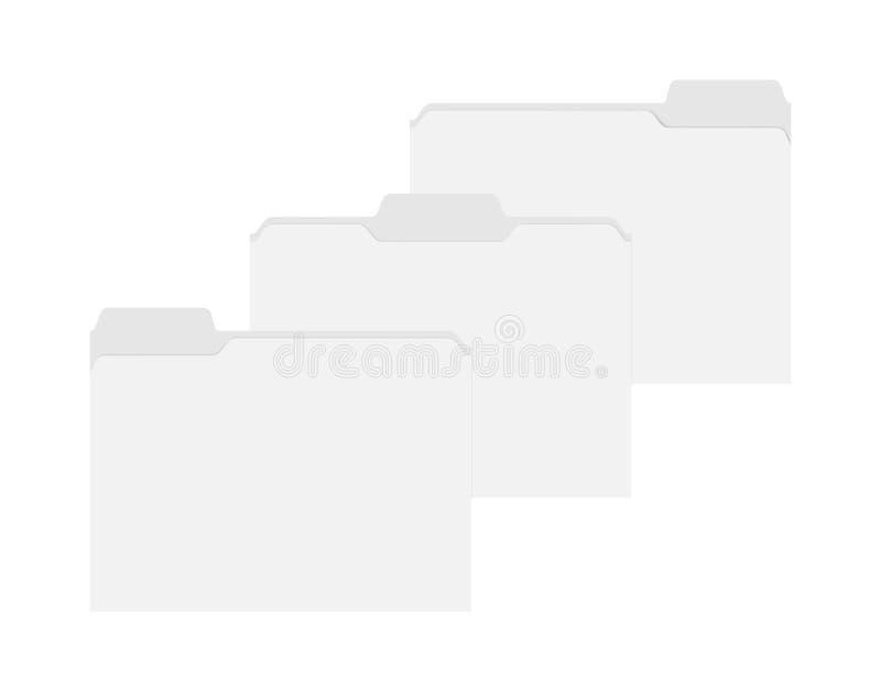 Пустые пустые папки файла с сортированными платами отрезка положения глумятся вверх иллюстрация штока