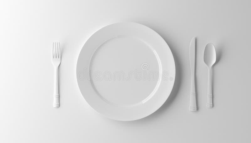Пустые плита, вилка и нож изолированная на белой предпосылке иллюстрация 3d иллюстрация вектора