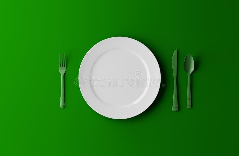 Пустые плита, вилка и нож изолированная на зеленой предпосылке иллюстрация 3d иллюстрация вектора