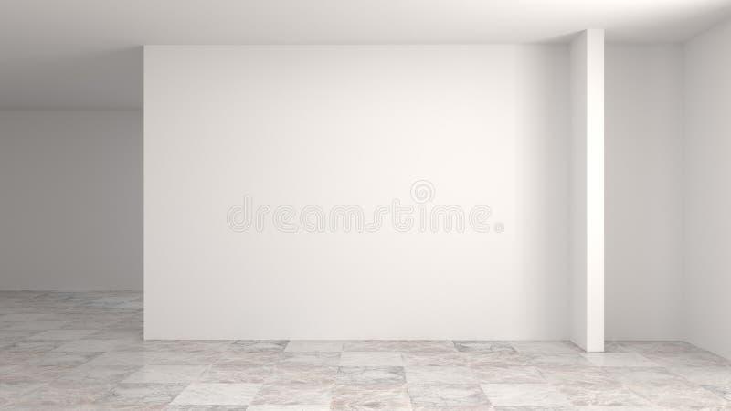 Пустые пола осмотров ожидания белой комнаты, стены, трубопровод, проводка, и иллюстрации дома 3d чистки приборов bac большой внут иллюстрация вектора