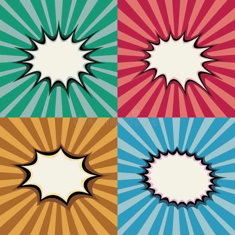 Пустые пузыри речи искусства шипучки и формы взрыва на ретро комплекте вектора предпосылки захода солнца супергероя иллюстрация вектора