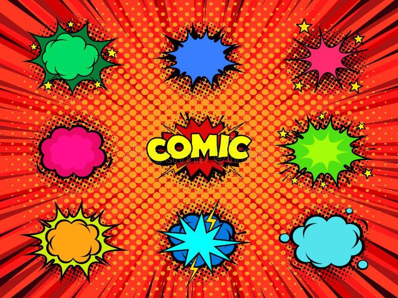 Пустые пузыри речи комика для винтажного возникновения искусства дизайна, имитации текстуры печати полутонового изображения иллюстрация вектора