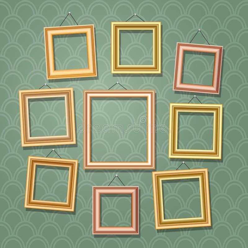 Пустые рамки фото шаржа на зеленой стене Ретро деревянная иллюстрация вектора картинной рамки установленная иллюстрация штока