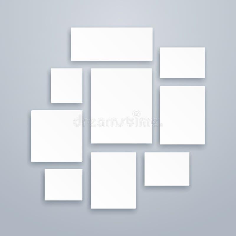 Пустые рамки холста или фото бумаги белизны 3d Модель-макеты плакатов вектора иллюстрация штока