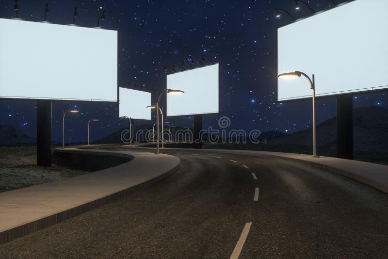 Пустые рекламируя доска и извилистая дорога, перевод 3d стоковое фото rf