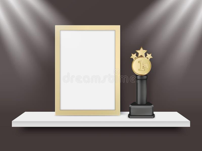 Пустые светлые рамка и металл награждают вектору трофея реалистическую иллюстрацию иллюстрация вектора