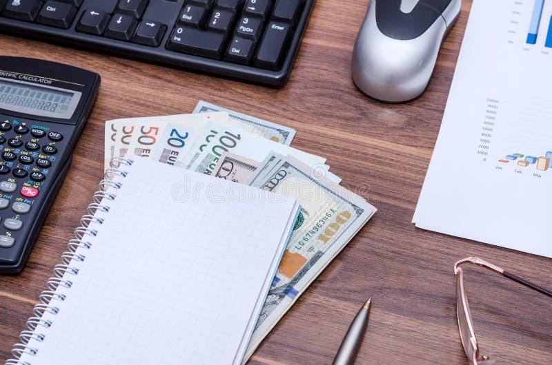 Пустые тетрадь и ручка, долларовые банкноты, стекла, калькулятор, клавиатура компьютера и мышь стоковая фотография