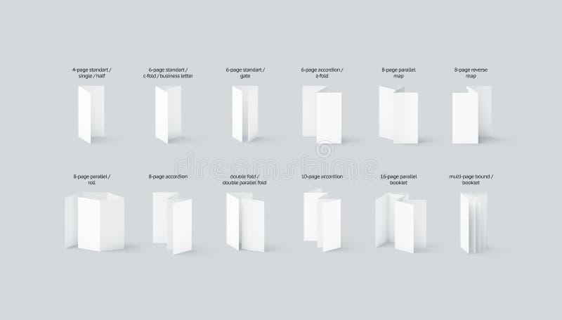 Пустые типы модель-макетов рогулек и буклетов установили с именами бесплатная иллюстрация