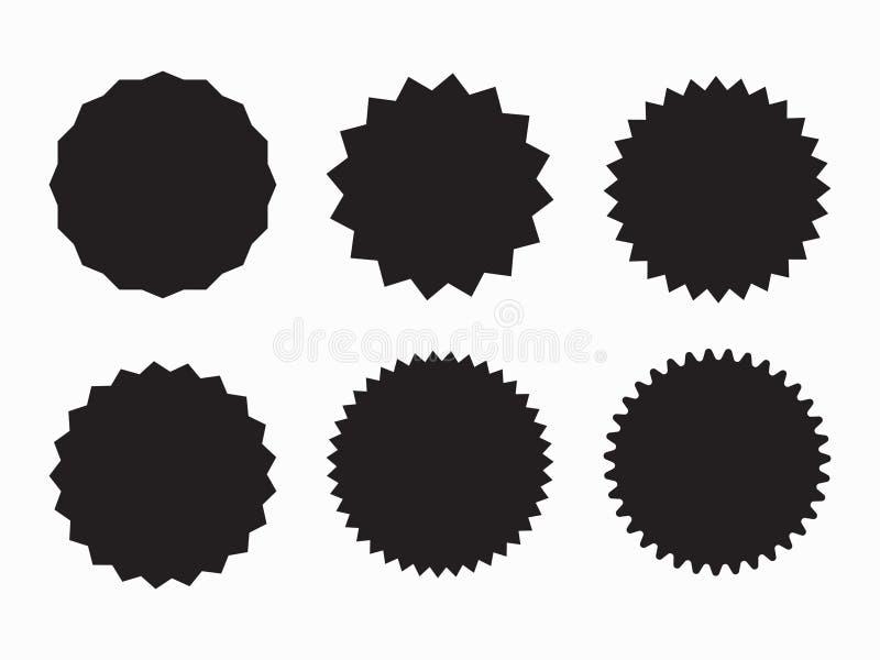 Пустые установленные стикеры promo Starburst, график, sunburst, блеск, штемпель, украшение, солнечность, символ яркого блеска Зна бесплатная иллюстрация