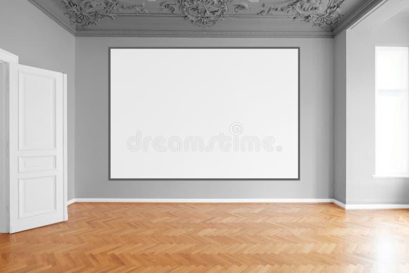 Пустые холст или картинная рамка вися на белой стене в пустой комнате стоковые фотографии rf