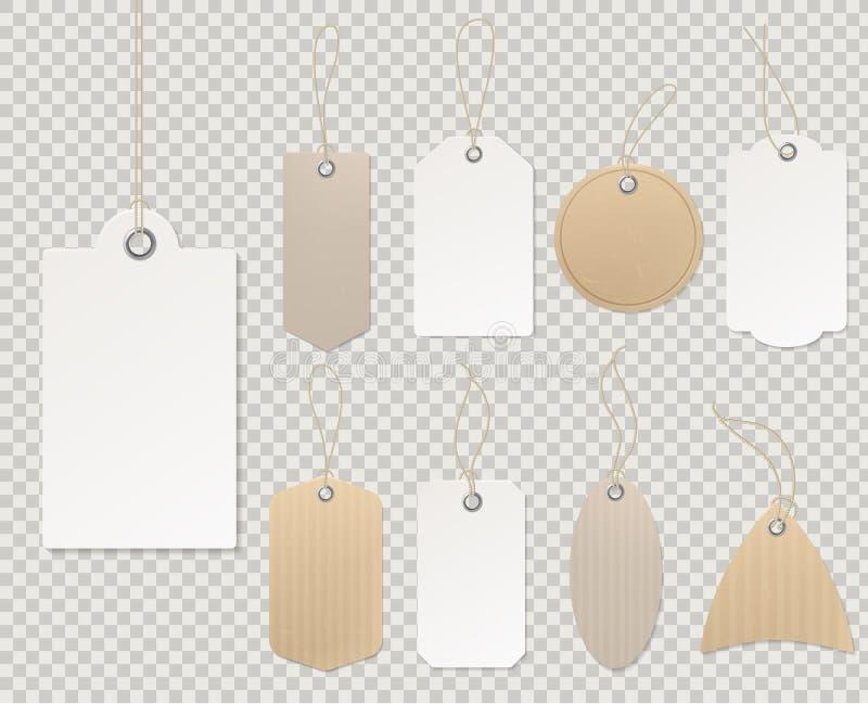 Пустые ценники Бумажный шаблон бирки, скидка подарка магазина картона пустой веревочки стикера карты подарка ярлыков декоративной иллюстрация вектора