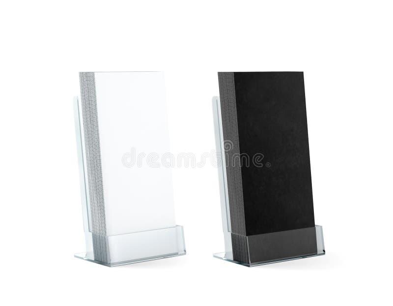 Пустые черно-белые рогульки штабелируют держатель модель-макетов стеклянный пластичный стоковое изображение