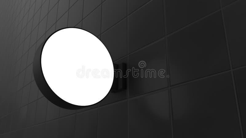 Пустые шильдики формы круга на стене иллюстрация вектора