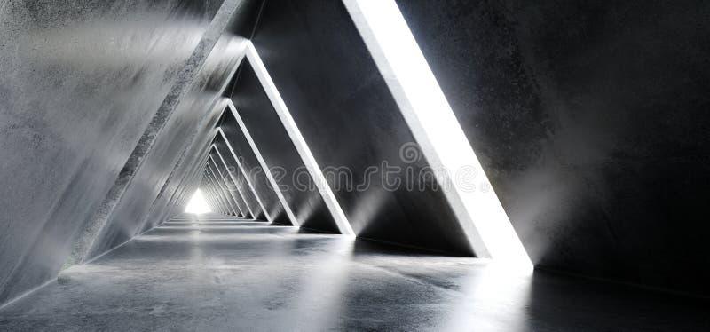 Пустым длинным научная фантастика отполированная светом конкретная современная футуристическое Tria иллюстрация вектора