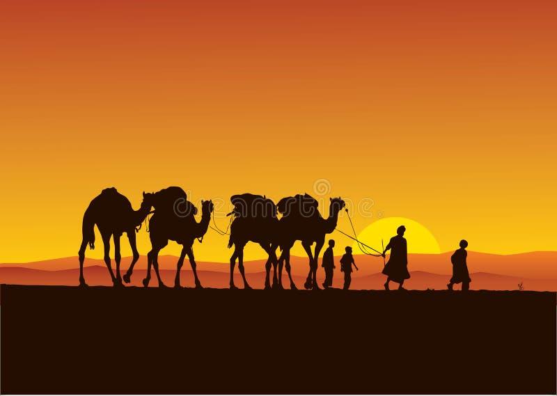 пустыня каравана верблюдов иллюстрация вектора