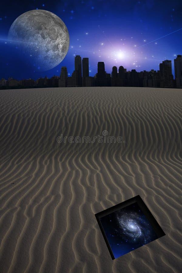 Пустыня с городом и отверстие к звездам бесплатная иллюстрация