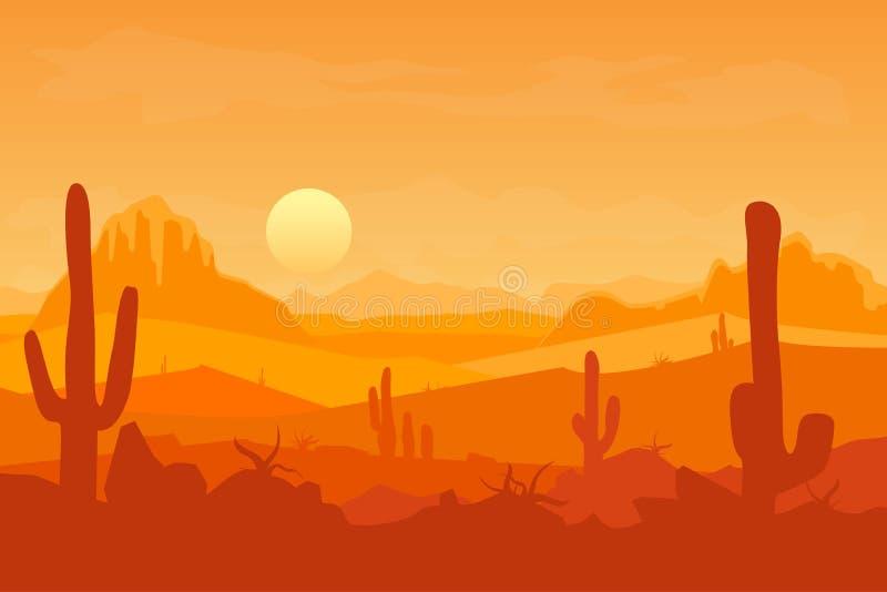 Пустыня шаржа с силуэтами кактусом и горой вектор бесплатная иллюстрация