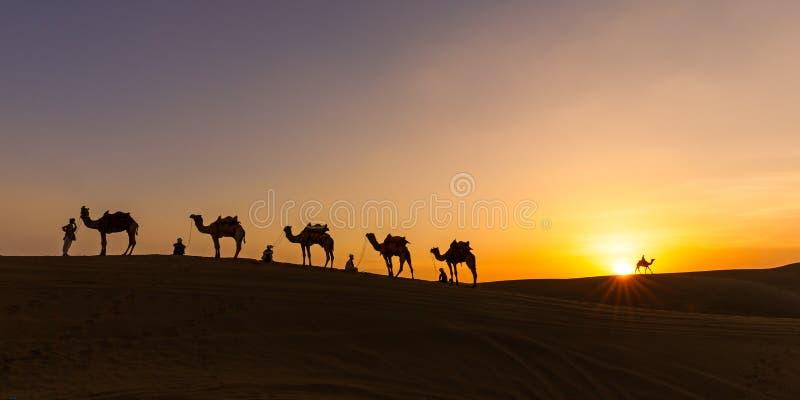 Пустыня Thar каравана, Индия 2015 стоковые изображения rf