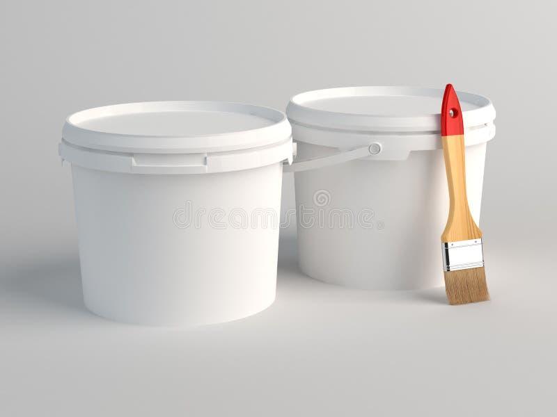 2 пустых белых пластичных ведра 3d представляют бесплатная иллюстрация