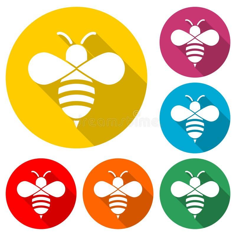 Путайте значок пчелы или логотип, набор цвета с длинной тенью иллюстрация вектора