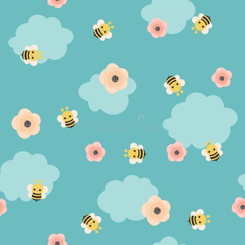 Путайте картина вектора пчелы безшовная бесплатная иллюстрация