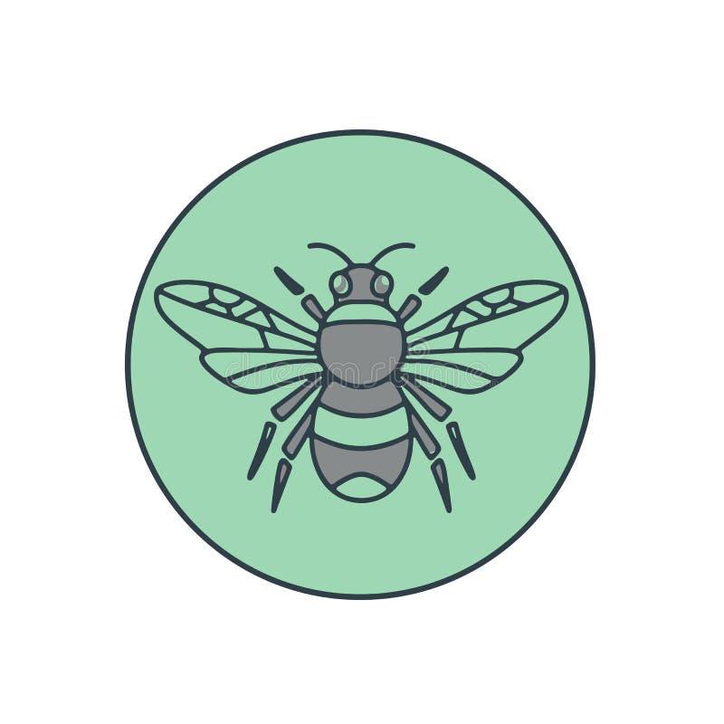 Путайте линия круга пчелы Mono иллюстрация штока