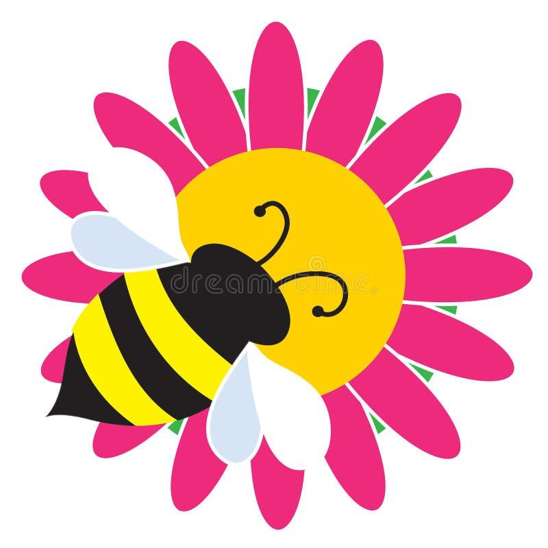 Путайте пчела на цветке иллюстрация штока