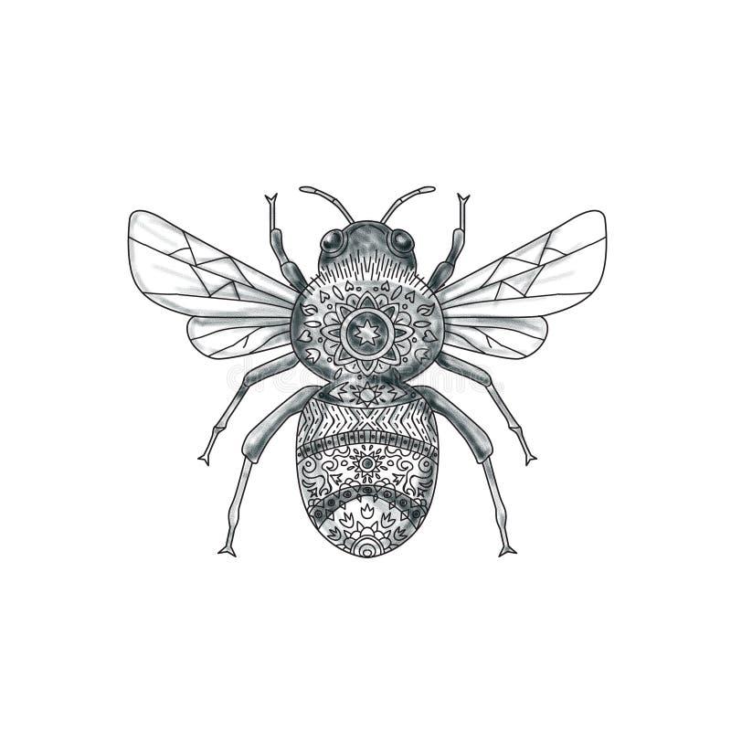 Путайте татуировка мандалы пчелы бесплатная иллюстрация