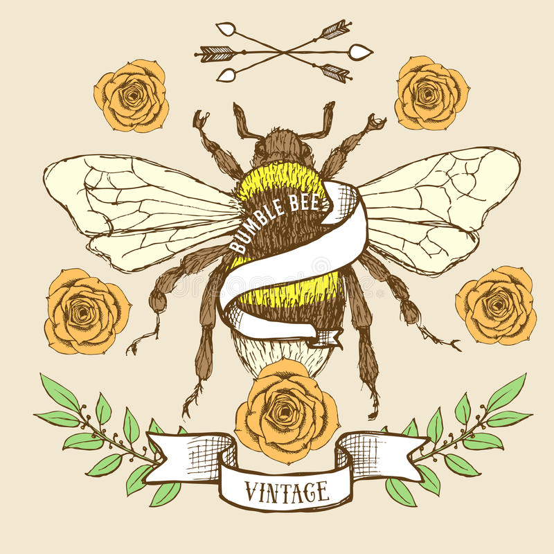 Путайте шаблон плаката пчелы иллюстрация штока