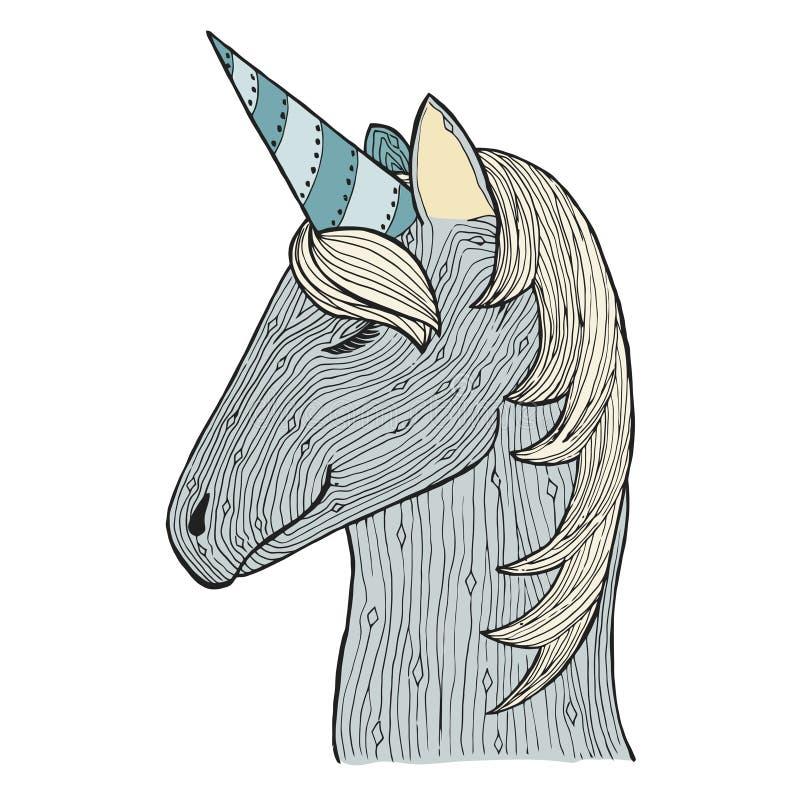 Путать Дзэн и единорог doodle Жеребец сини Zentangle Лошадь волшебства Zendoodle Книжка-раскраска вектора бесплатная иллюстрация