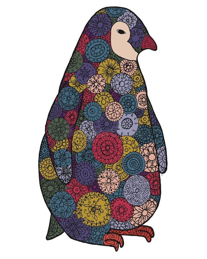 Путать Дзэн и пингвин doodle Дзэн Животное Zentangle Вектор силуэта иллюстрация графика расцветки книги цветастая контур бесплатная иллюстрация