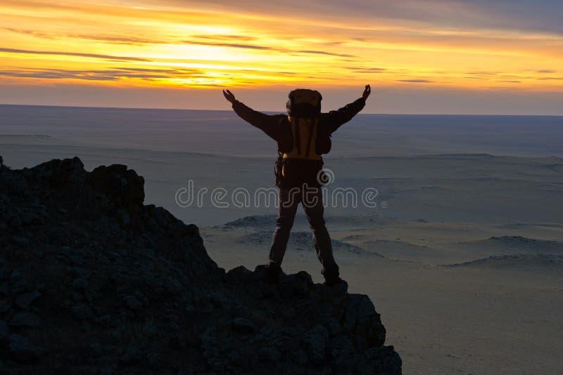 Путешественники вверху гора стоковые фотографии rf