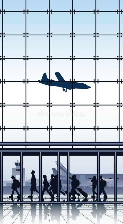 Путешественники внутри крупного аэропорта. бесплатная иллюстрация
