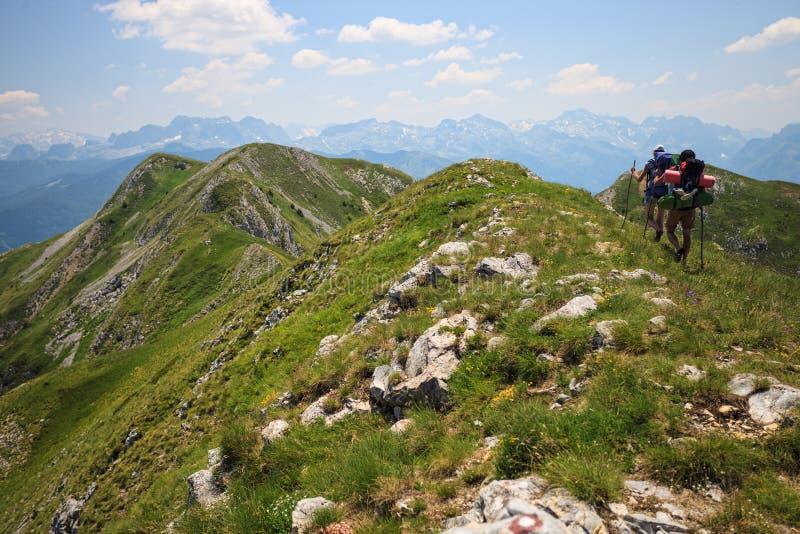 Путешественники в горах стоковое фото