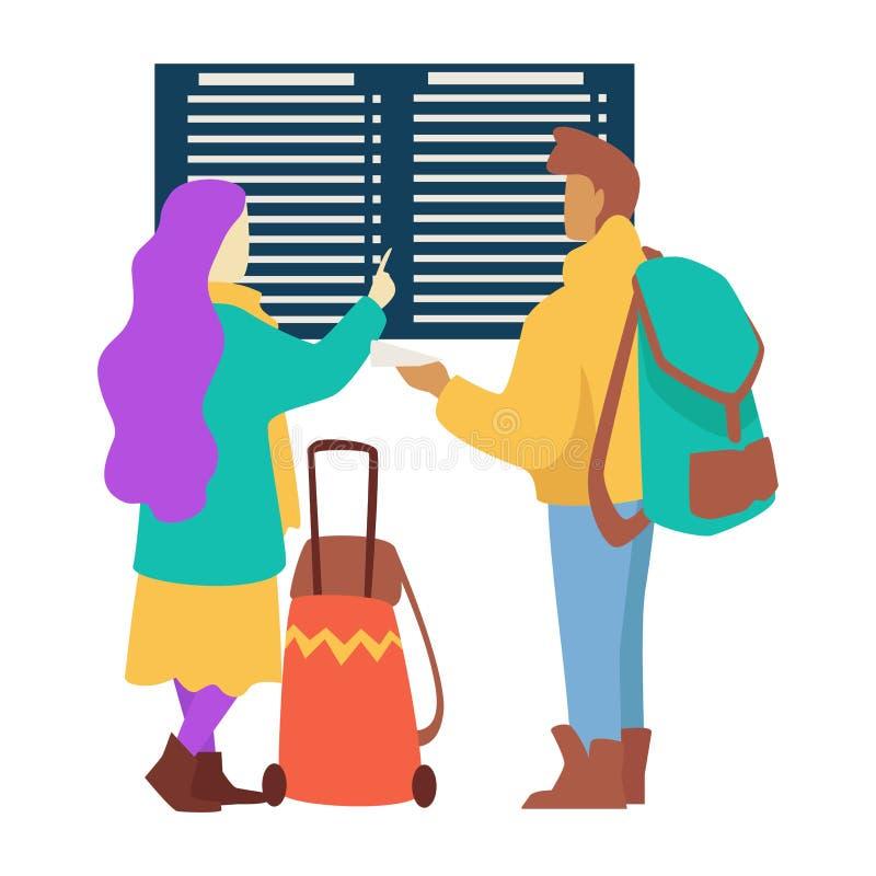Путешественники соединяют на путешествовать расписания полетов проверки аэропорта бесплатная иллюстрация