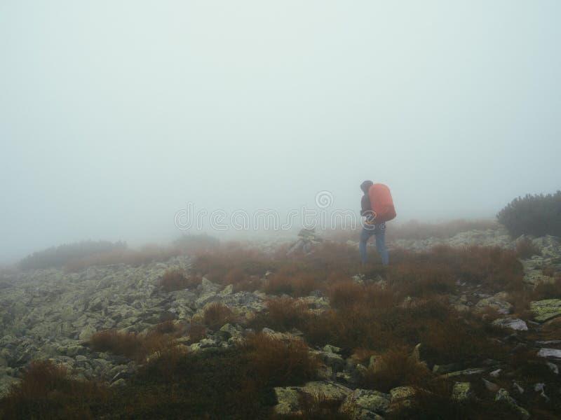 Путешественники туристов с рюкзаками идя через утесы в толстом тумане молока стоковое изображение rf