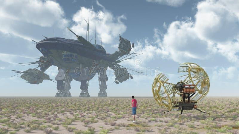 Путешественник времени с машиной времени и гигантским кораблем в ландшафте иллюстрация штока