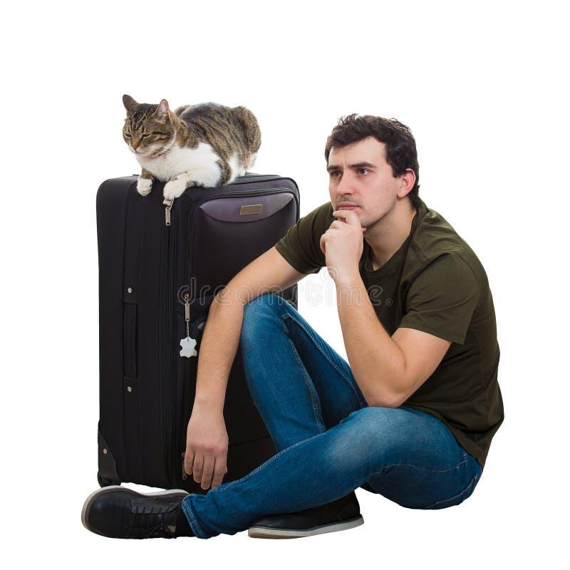 Путешественник Гай и кота стоковые фото